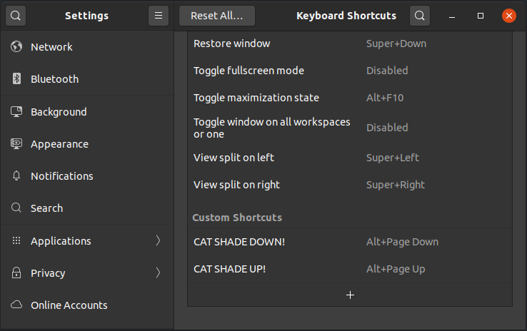 keyboard shortcuts dialog window